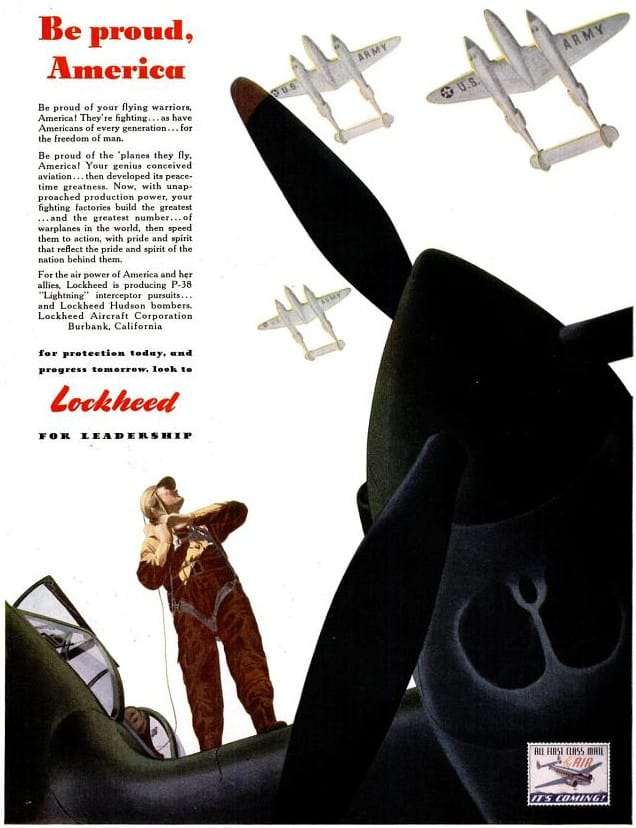 Lockheed P-38 ad from 1942 - Be proud, America
