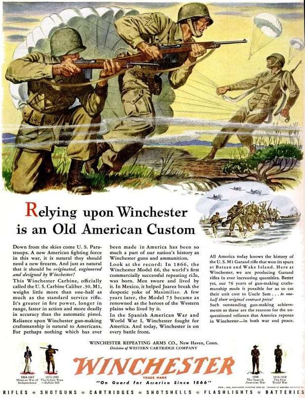 WWII Winchester Rifle Ad - Paratrooper ad from July 1943