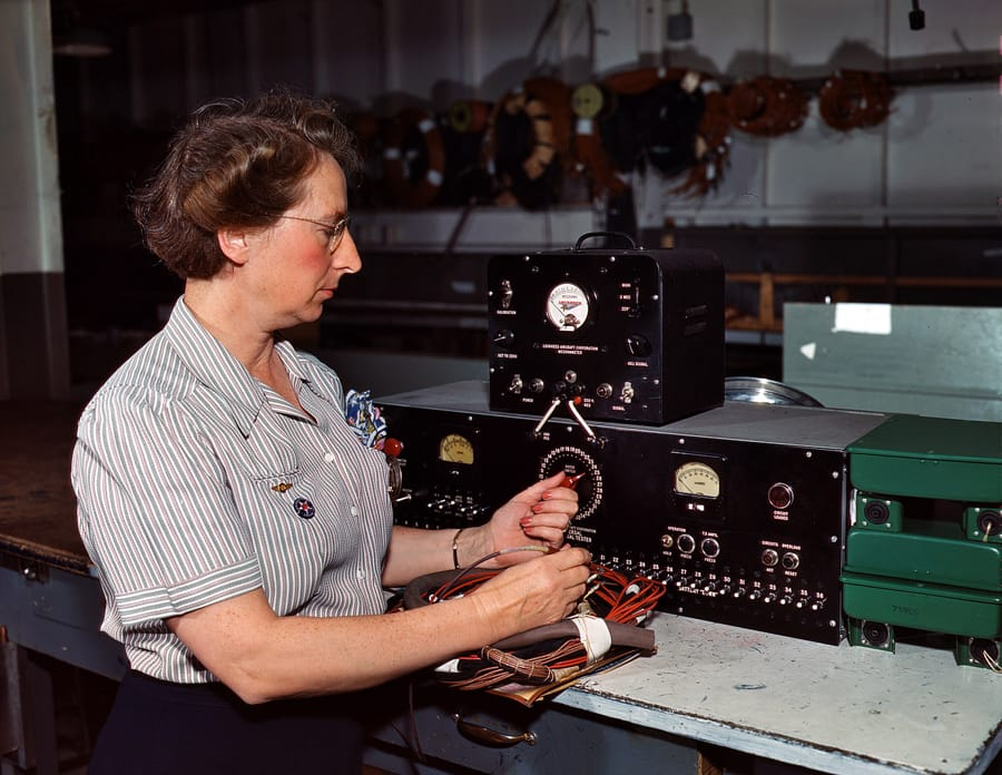 "October 1942. ""Testing electric wiring at Douglas Aircraft Company."