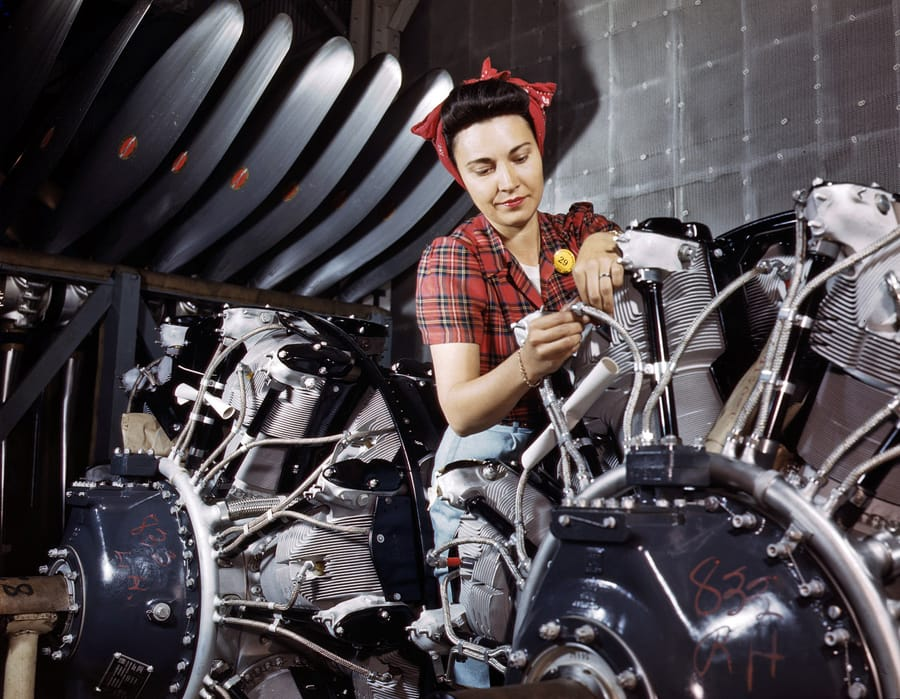 June 1942. Engine inspector for North American Aviation at Long Beach, California.