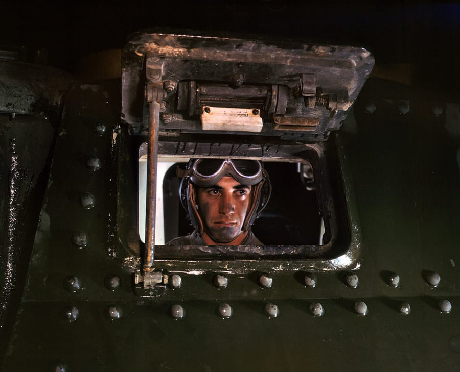 June 1942. Army tank driver at Fort Knox, Kentucky.