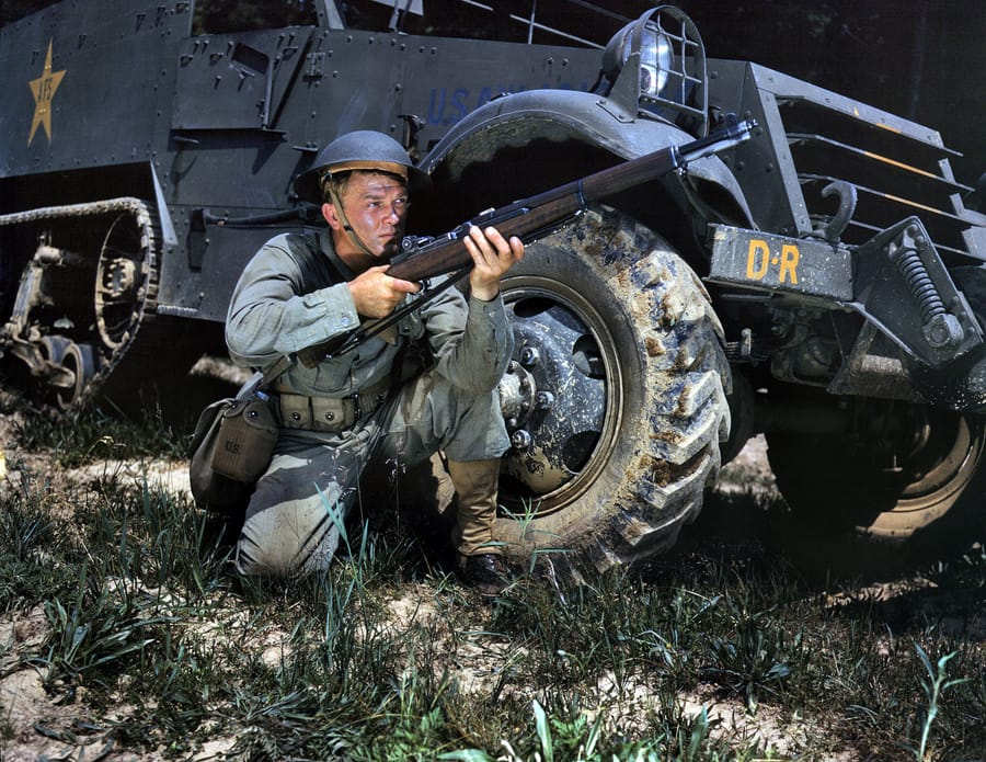"June 1942. Fort Knox, Kentucky. ""Infantryman with halftrack."