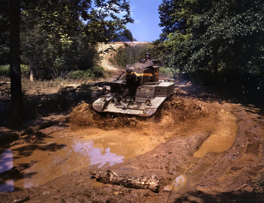 "ort Knox, June 1942. ""Light tank going through water obstacle."