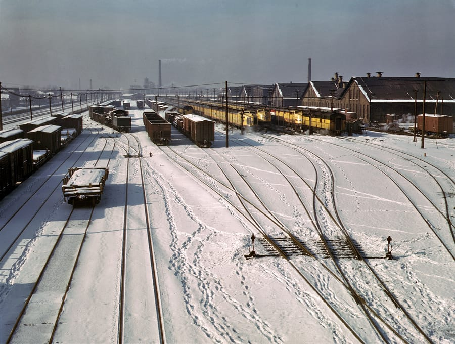December 1942. Three West Coast streamliners in the Chicago & North Western yards at Chicago.